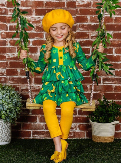 Girls Tiered Ruffled Clover Horse Shoe Button Tunic and Leggings Set - Green / 10Y - Girls St. Patricks Set