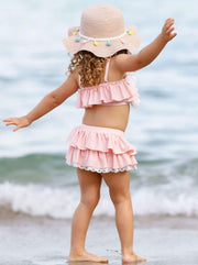 Girls Tiered Ruffled Eyelet Two Piece Swimsuit - Girls Two Piece Swimsuit