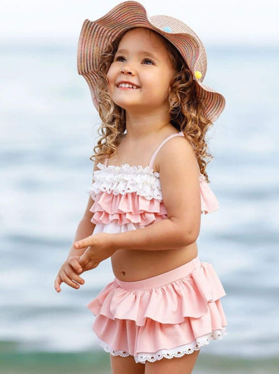 Girls Tiered Ruffled Eyelet Two Piece Swimsuit - Pink / 3T/4T - Girls Two Piece Swimsuit