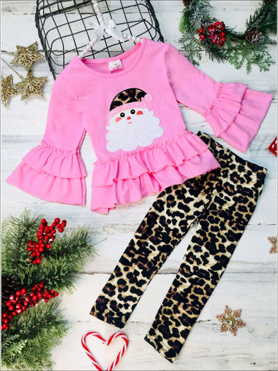 Girls Tiered Ruffled Santa Top and Leopard Leggings Set - Pink / 2T - Girls Christmas Set
