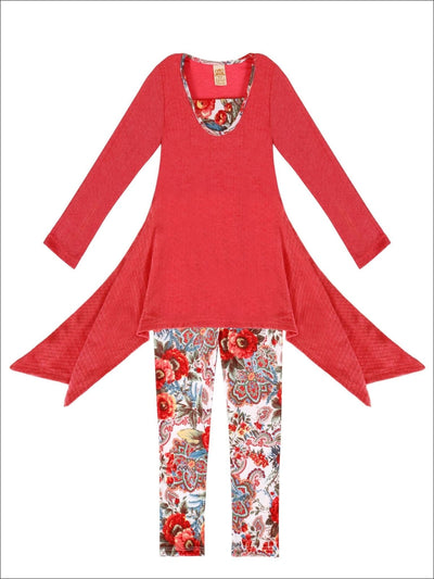 Girls Tomato Floral Sidetail Tunic & Leggings - Girls Fall Set