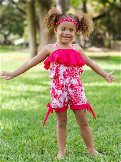 Girls Tomato Red/Pink Floral Spaghetti Strap Banded Bottom Romper w/ Ruffle Detail - Girls Jumpsuit