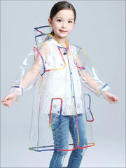 Girls Transparent Rainbow Raincoat - Girls Raincoat