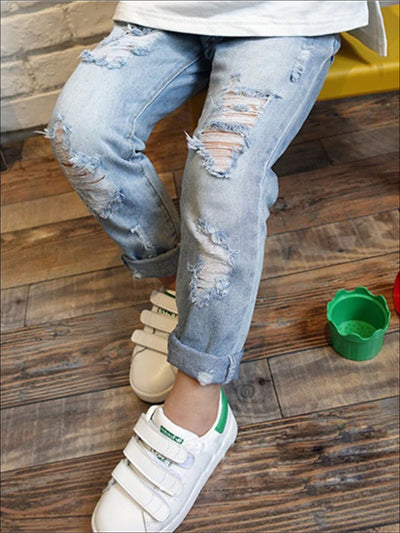 Girls Trendy Stone Washed Jeans - 2T / Stone washed - Girls Jeans