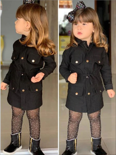 Girls Trendy Trench Coat Dress - Black / 2T - Girls Jacket