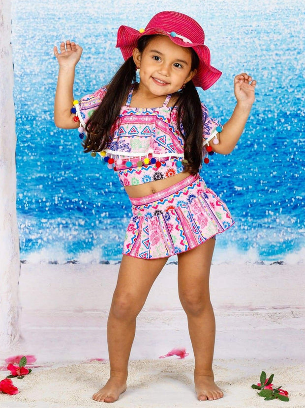 Girls Tribal Print Multicolor Pom Pom Off the Shoulder Ruffled Top & Skirted Bottom Two Piece Swimsuit - Girls Two Piece Swimsuit
