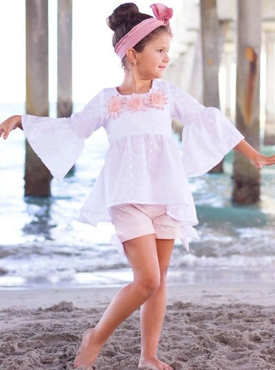Girls Trimmed Boho Flared Sleeve Tunic & Cuffed Bow Shorts Set - White / 2T/3T - Girls Spring Casual Set