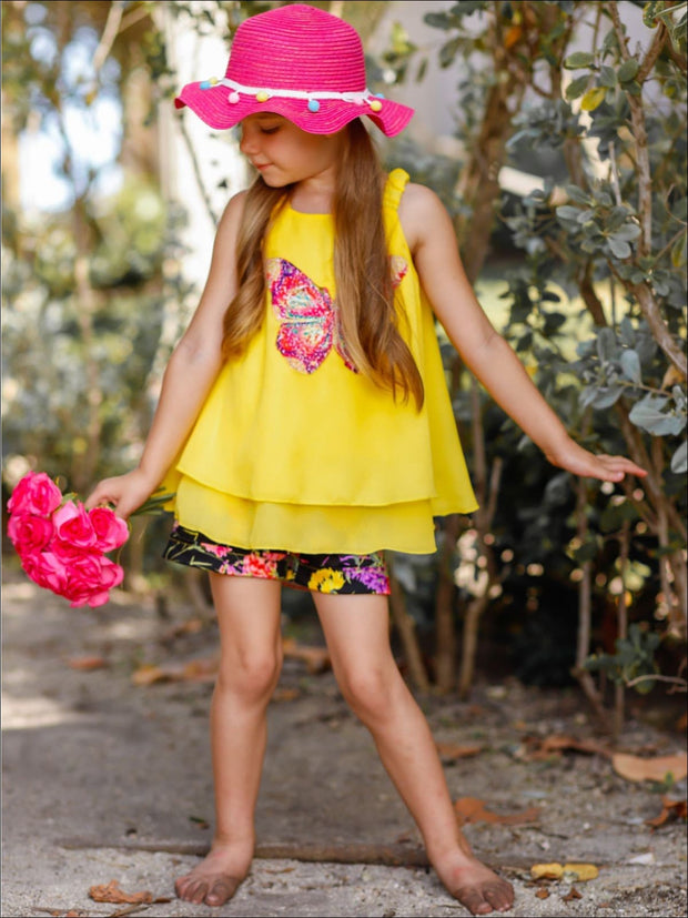 Girls Trimmed Double Layer Swing Tunic & Cuffed Bow Short Set - Girls Spring Dressy Set