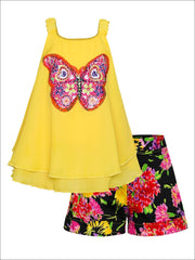 Girls Trimmed Double Layer Swing Tunic & Cuffed Bow Short Set - Yellow / 2T/3T - Girls Spring Dressy Set