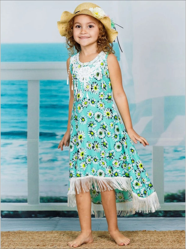 Girls Trimmed Fringe Hi-Lo Dress - Girls Spring Casual Dress