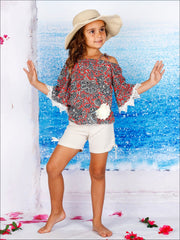 Girls Trimmed Off the Shoulder Strap Flare Sleeve Tunic & Drawstring Shorts Set - Girls Spring Casual Set