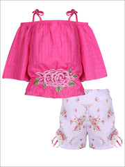 Girls Trimmed Off the Shoulder Strap Flare Sleeve Tunic & Drawstring Shorts Set - Fuchsia / 2T/3T - Girls Spring Casual Set
