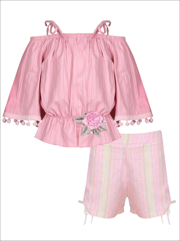 Girls Trimmed Off the Shoulder Strap Flare Sleeve Tunic & Drawstring Shorts Set - Pink / 2T/3T - Girls Spring Casual Set