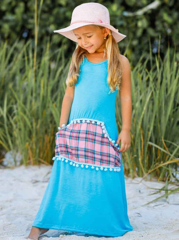 Girls Trimmed Printed Faux Pocket Maxi Dress - Girls Spring Casual Dress