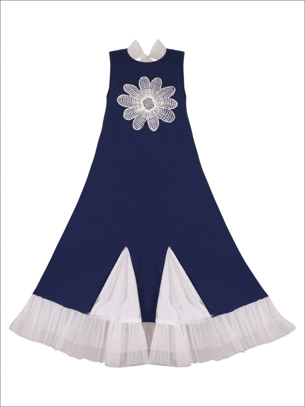 Girls Trimmed Ruffled Insert Maxi Dress - Girls Spring Casual Dress