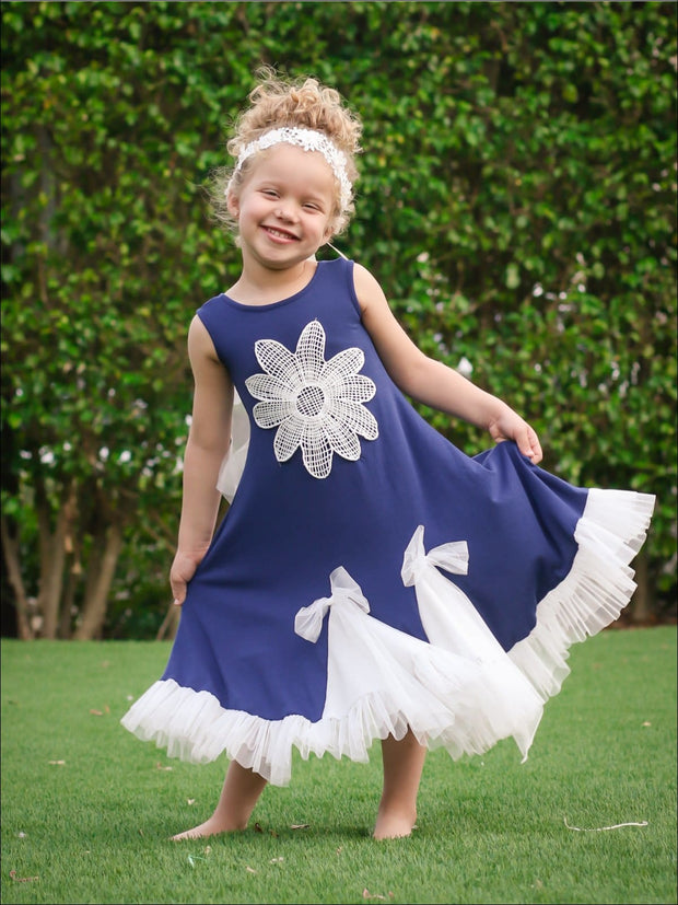 Girls Trimmed Ruffled Insert Maxi Dress - Navy / 2T/3T - Girls Spring Casual Dress