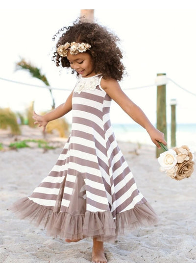 Girls Trimmed Ruffled Insert Maxi Dress - Taupe / 2T/3T - Girls Spring Casual Dress