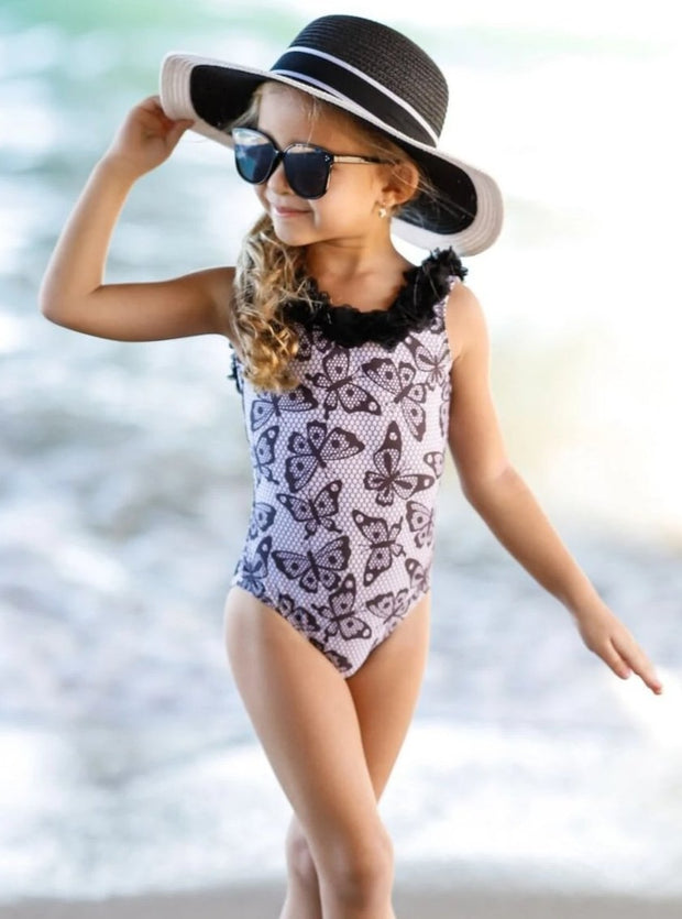Girls Trimmed Scoop Back One Piece Swimsuit - Girls One Piece Swimsuit