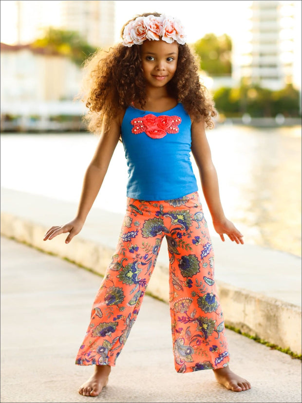 Girls Trimmed Scrunch Back Tank & Palazzo Pants Set - Girls Spring Casual Set