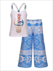 Girls Trimmed Scrunch Back Tank & Palazzo Pants Set - Blue / 2T/3T - Girls Spring Casual Set