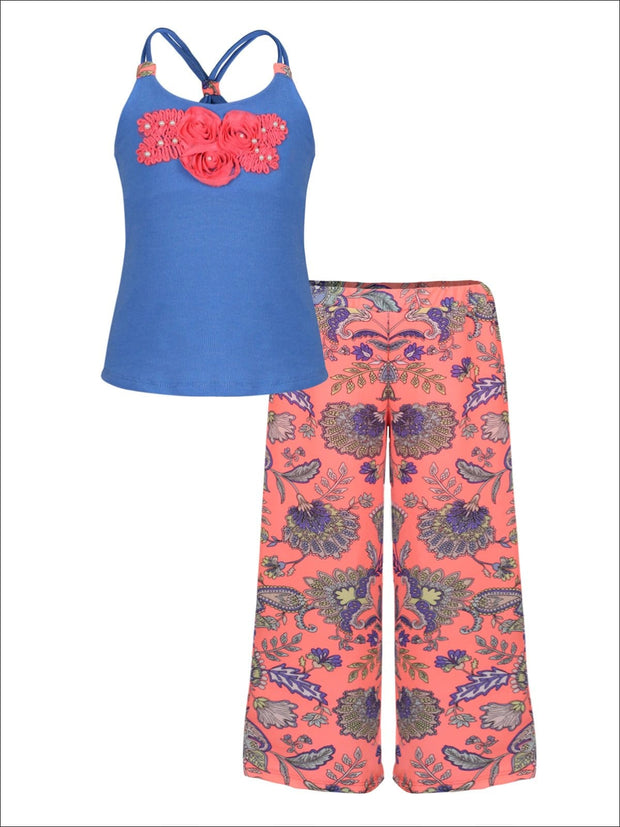 Girls Trimmed Scrunch Back Tank & Palazzo Pants Set - Orange / 2T/3T - Girls Spring Casual Set