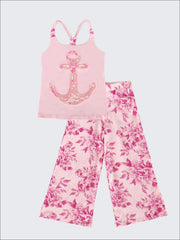 Girls Trimmed Scrunch Back Tank & Palazzo Pants Set - Pink / 2T/3T - Girls Spring Casual Set