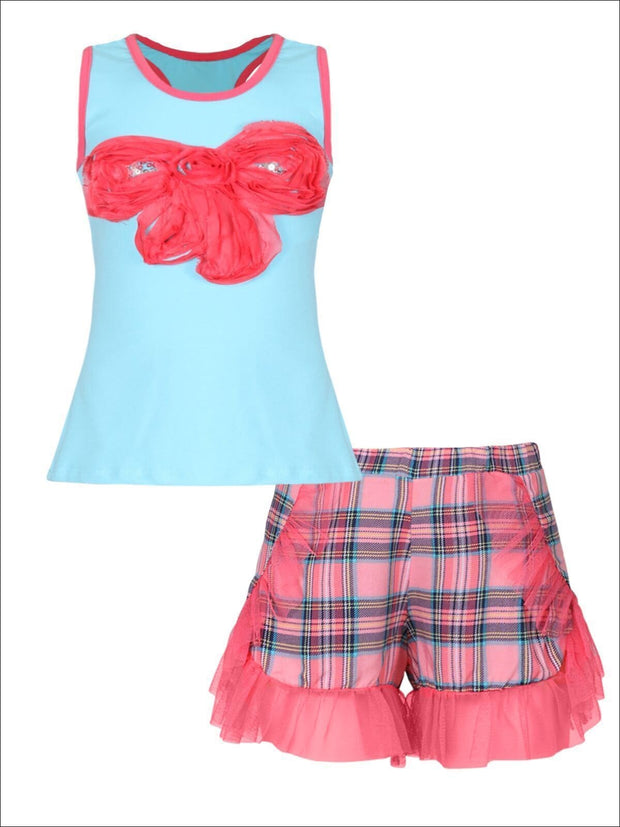 Girls Trimmed Tank & Ruffle Shorts Set - Blue / 2T/3T - Girls Spring Casual Set