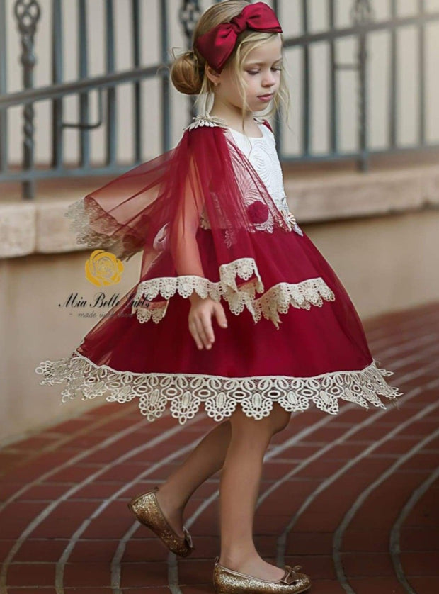 Girls Tulle Lace Trimmed Bohemian Holiday Dress - Girls Fall Dressy Dress