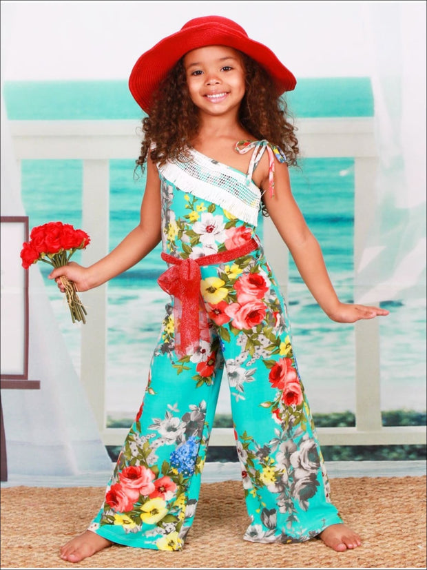 Girls Turquoise Floral One Shoulder Palazzo Jumpsuit with Fringe Crochet Trim & Sparkly Sash - Girls Jumpsuit