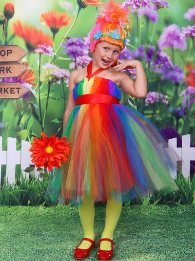 Girls Tutu Rainbow Troll Inspired Halloween Costume - 2T / Rainbow - Girls Halloween Costume