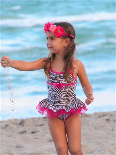 Girls Tutu Zebra Print Skirted One Piece Swimsuit with Bow Detail - Girls One Piece Swimsuit