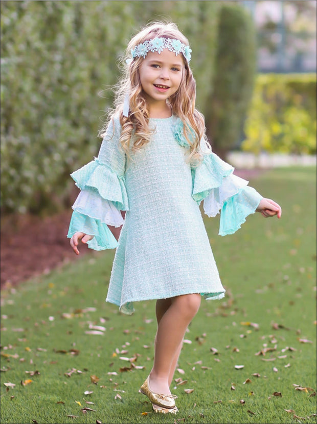 Girls Tweed Lace Tiered Ruffled Sleeve Dress - Girls Spring Dressy Dress