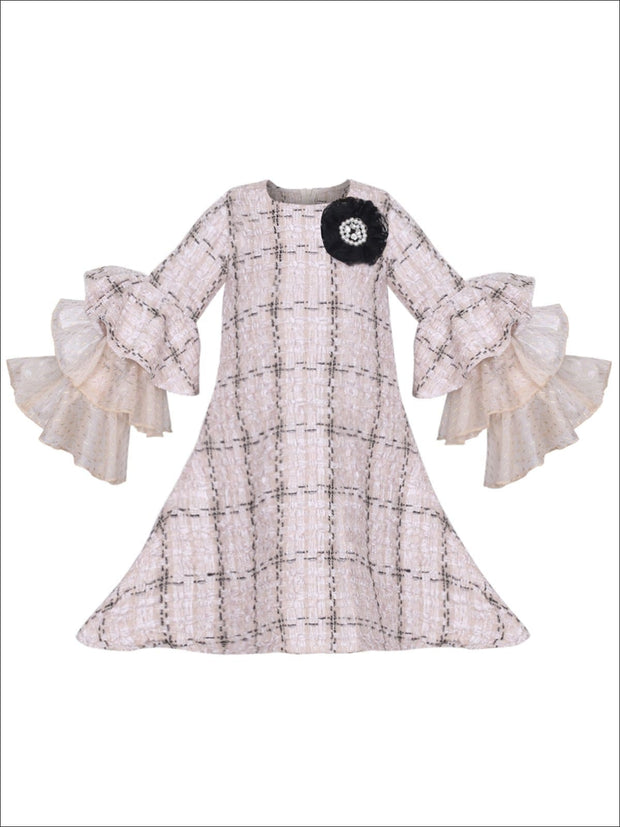 Girls Tweed Lace Tiered Ruffled Sleeve Dress - Beige / 2T/3T - Girls Spring Dressy Dress