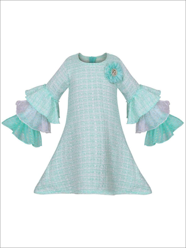 Girls Tweed Lace Tiered Ruffled Sleeve Dress - Mint / 2T/3T - Girls Spring Dressy Dress