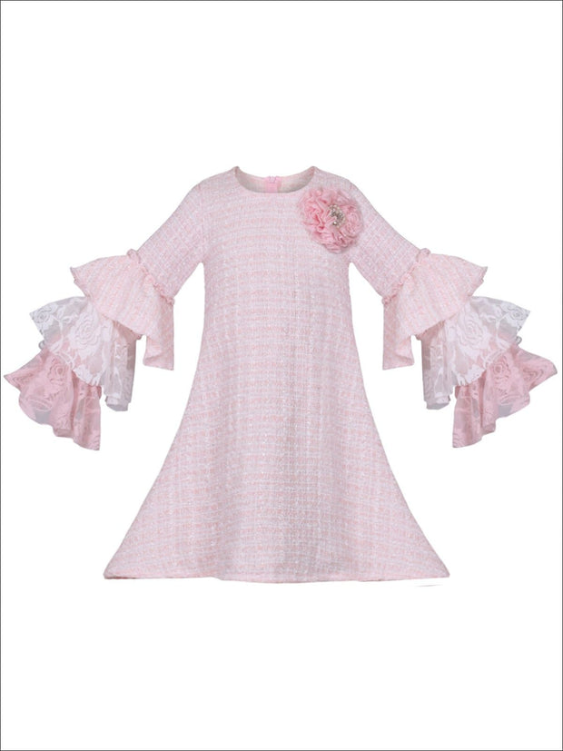 Girls Tweed Lace Tiered Ruffled Sleeve Dress - Pink / 2T/3T - Girls Spring Dressy Dress