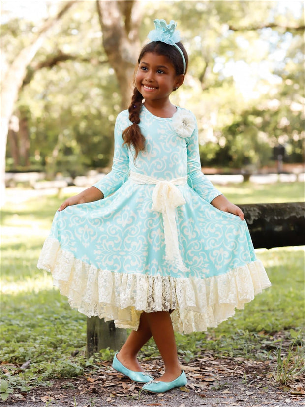 Girls Twirl Dress with Lace Ruffle & Sash - Girls Fall Dressy Dress