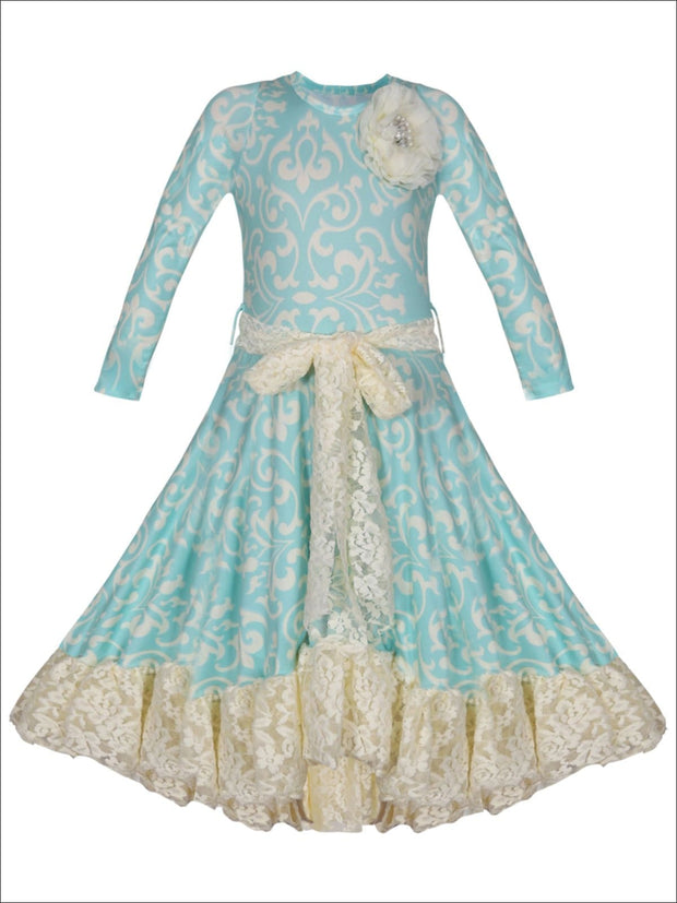 Girls Twirl Dress with Lace Ruffle & Sash - Mint / 2T/3T - Girls Fall Dressy Dress