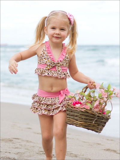 Girls Two Piece Animal Print Skirted Halter Top Bikini - Girls Two Piece Swimsuit
