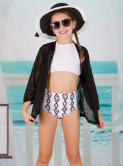 Girls Two Piece High Rise Bikini with Jacket Cover Up - White / 8Y - Girls Two Piece Swimsuit