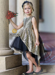Girls Two Tone Sequined Hi-Low Special Occasion Party Dress - Girls Fall Dressy Dress
