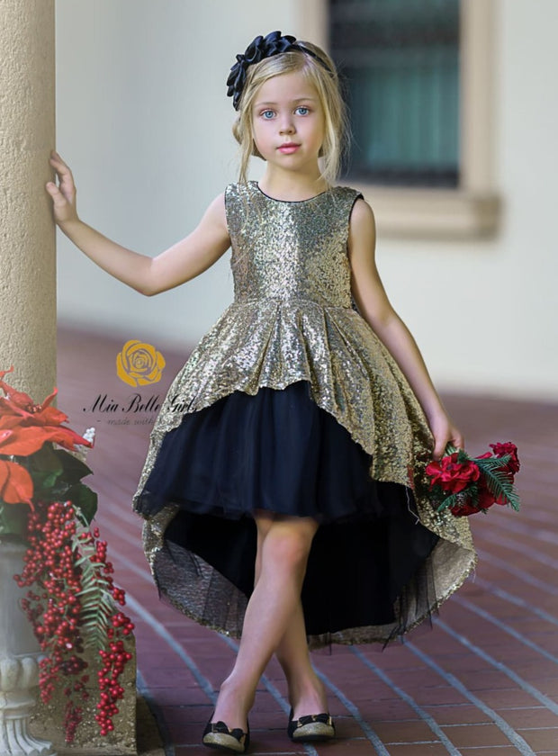 Girls Two Tone Sequined Hi-Low Special Occasion Party Dress - Gold / 3T - Girls Fall Dressy Dress