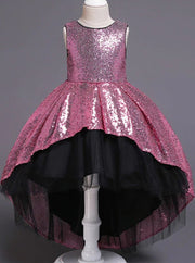 Girls Two Tone Sequined Hi-Low Special Occasion Party Dress - Pink / 3T - Girls Fall Dressy Dress