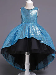 Girls Two Tone Sequined Hi-Low Special Occasion Party Dress - Sky Blue / 3T - Girls Fall Dressy Dress