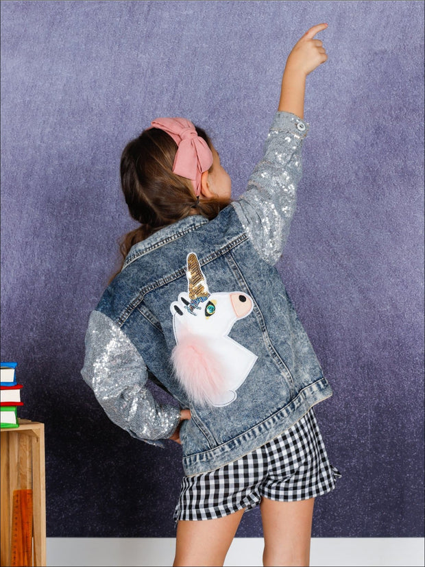 Girls Unicorn Applique Sequin Long Sleeve Denim Jacket - Girls Jacket
