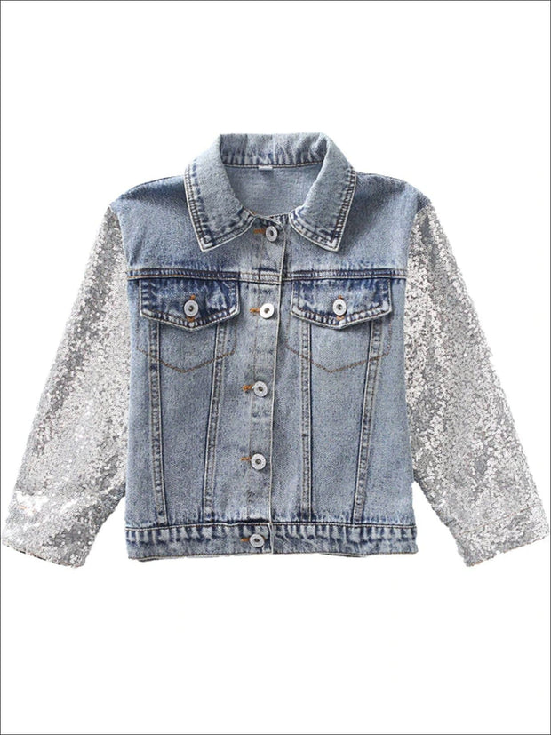 Girls Unicorn Applique Sequin Long Sleeve Denim Jacket - Denim / 3T - Girls Jacket