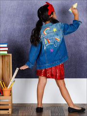 Girls Unicorn Embroidery Denim Jacket - Girls Jacket