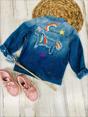 Girls Unicorn Embroidery Denim Jacket - Blue / 5 - Girls Jacket