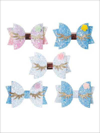 Girls Unicorn Glitter Eyelash Hair Bow - Hair Accessories