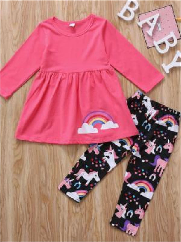 Girls Unicorn Long Sleeve Tunic + Printed Leggings 2 pcs Set - Girls Fall Casual Set