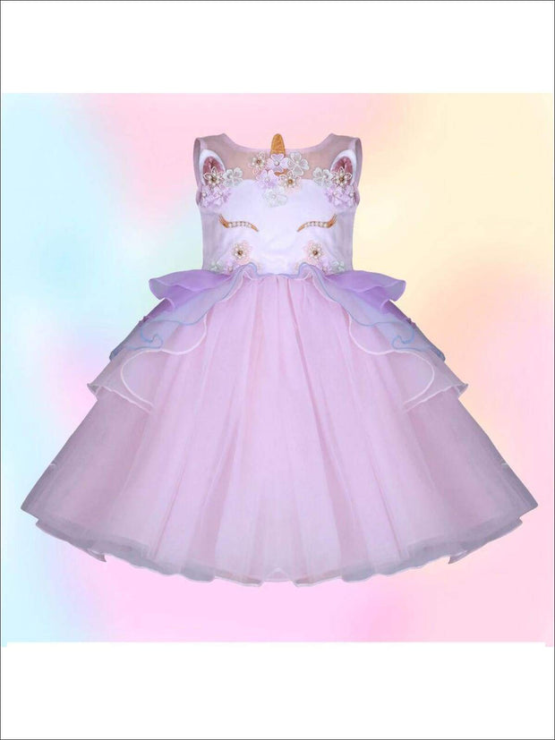 Girls Unicorn Party Tutu Dress - Pink / 2T - Girls Spring Dressy Dress